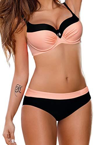 CROSS1946 Damen Elegant Bademode Push Up Zweiteiler Swimsuits Badeanzug Bikini-Set Rose X-Large