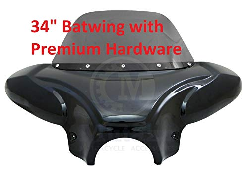 "34"" Mutazu Universal Vivid Black Front Fairing Batwing with Tinted Windshield for Cruisers w/Premium Hardware (WS-1-VB-Premium)"