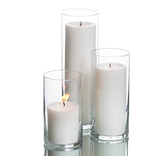 Richland Set of 3 Glass Eastland Cylinder Vases and 3 White Pillar Candles 3'