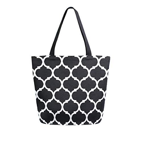 MNSRUU Schwarz-Weiß marokkanische Lebensmittel-Einkaufstasche, wiederverwendbar, für Damen, groß, Legerer Handtasche, Schultertasche für Einkaufen, Lebensmittel und Reisen im Freien.