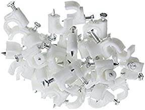 100 Pack RG59 Coax Cat5 Cat6 Cable Wire Clips White 8mm Nail Clamps Straps Tacks (8mm/0.31'')
