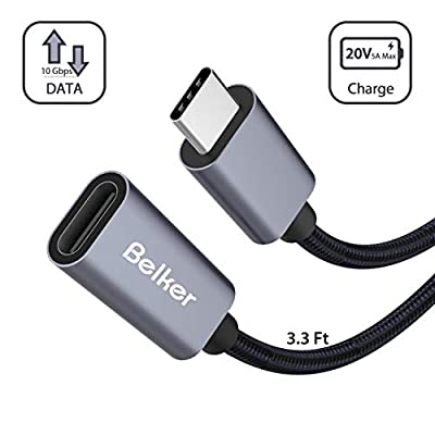 Belkertech USB C Extension Cable Type C Male to Female Thunderbolt 3 Extension Cable USB 3.1 (10 Gbps) Charging/Sync/ 4K Video/Audio Extend Cord for MacBook Pro 2016/2017/ 1M/3.3Ft