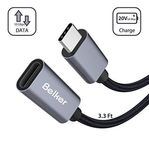 Belkertech USB C-verlengkabel type C-stekker naar bus Thunderbolt 3-verlengkabel USB 3.1 (10 Gbps) opladen/sync / 4K video/audio verlengkabel voor MacBook Pro 2016/2017 1M 1M Black