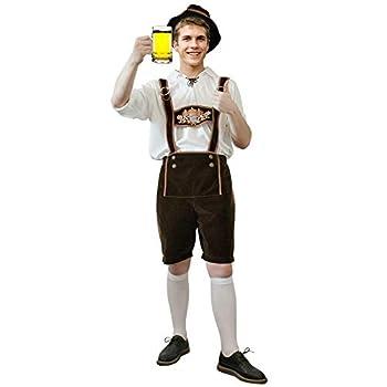 Brwoynn Oktoberfest Halloween Costume for Men German Bavarian Costume Set Halloween Costume for Adult