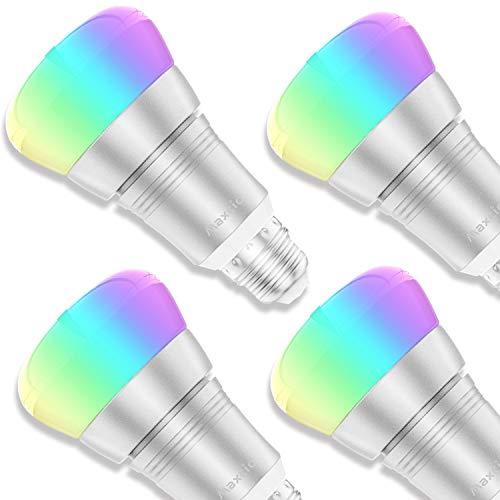 Lampadine Wifi Intelligente, Maxcio Lampadine Smart Led Dimmerabile, Molti Colori [ E27 9W RGB+W], Controllare sull'APP,Funzione Timer,Più Luminoso, Compatibile con Echo Dot e Google Home -4 packs