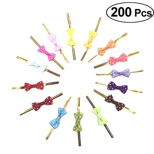 BESTONZON 200 Stücke Gold Twist Krawatten Band vorgebundene Geschenkverpackung Bögen für Behandeln Taschen Lutscher und Kuchen Pops Party Favor Taschen Dekorationen (Farbe Sortiert)