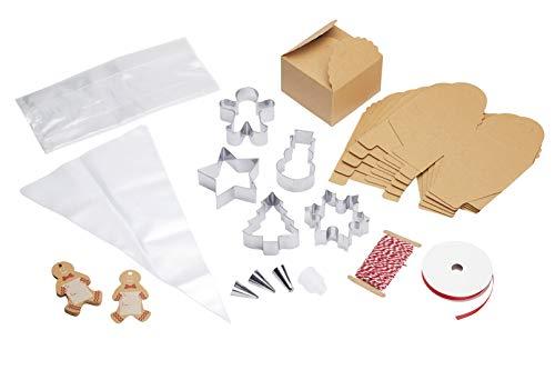 KitchenCraft Sweetly Doet Het Ultieme Kerst Cookie Cutter Set met Sweet, Cadeau, Piping Tassen en Nozzles in Presentatie Doos, Roestvrij Staal