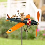 Metal Cat and Mouse Airplane Whirligig, Biplane with Solar Light Metal Wind Spinner, Garden Windmill Art, Bird Deterrent Garden Yard Lawn Decorations, Garden Spinner with Stable Wood Pile (A)