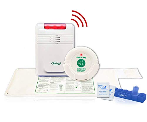 """Smart Caregiver Wireless Bed Alarm System with Nurse Call Button - Cordless Weight Sensing Bed Alarm Pad (10"""" x 30""""), Remote Alert Monitor, Nurse Call Button, 10 Wipes and Liberty Pill Box"""