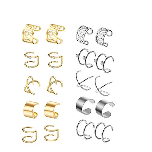 rongweiwang 10 Clips Pares del oído Acero Inoxidable Gota para el oído Gota para el oído Unisex Sets Sets de Acero Inoxidable para no Pierce aleación cartílago Clips, Plata, Oro