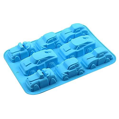 Swetup Silikon Cartoon Auto Silikonform, 8 Mulden 3D Karikatur Auto Backform, Auto Form Silikonform Kuchenform Muffins Tablett für Kinder Geburtstagsparty Schokolade, Cupcakes, Gelee, Eiswürfel, Seife