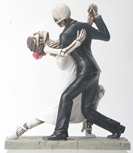 YTC Skeleton Face Wedding Couple in Dancing Position Statue Figurine