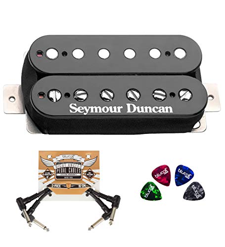 Seymour Duncan SH-4 JB Model Humbucker Pickup - Black Bridge for Electric Guitars Bundle with Blucoil 2-Pack of Pedal Patch Cables, and 4-Pack of Celluloid Guitar Picks