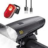 LIFEBEE LED Fahrradlicht Set, USB Wiederaufladbare fahrradlichter Fahrradbeleuchtung Set, IPX5...