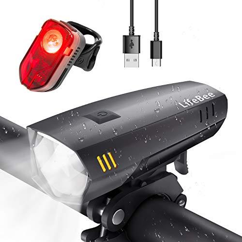 LIFEBEE LED Fahrradlicht Set, USB Wiederaufladbare fahrradlichter Fahrradbeleuchtung Set, IPX5 Wasserdicht Fahrradlampe Frontlicht und Rücklicht Set, mit 2 Licht-Modi für Fahrrad (dunkelgrau)