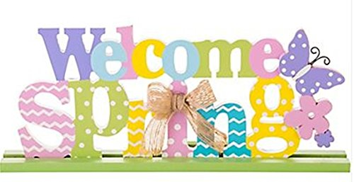 Welcome Spring Block Letter Sign - 13 inch x 5 inch