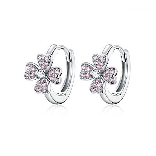 ZYMQ 925 Sterling Silver Dazzling Pink Flower Ear Hoops Earrings for Women Silver 925 Jewelry