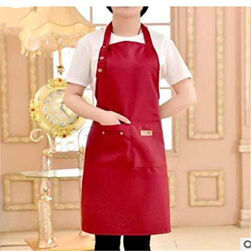Delantal de cocina EVENN para mujer, hombre, cocinero, camarero, cafetería, barbacoa, peluquería, baberos, accesorio de cocina, color burdeos