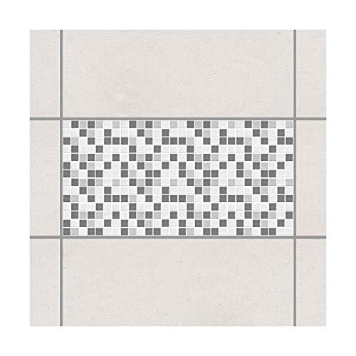 Apalis Fliesenaufkleber Fliesen-Deko Mosaikfliesen Grau 60x30 Set 4teilig