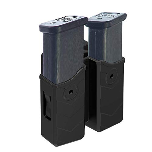 OWB Double Magazine Holster, Universal Magazine Holder for 9mm/.40 Dual Stack Magazines fit Glock/S&W/Ruger/Sig Sauer/Taurus/Beretta/Springfield/CZ/Walther/H&K Mags, Adjustable Belt-Clip Mag Pouch