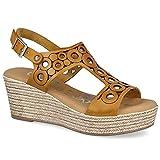 OH! MY SANDALS 4705 Sandalias CUÑA Mujer - Cuero para: Mujer Color: Mostaza Talla: 36
