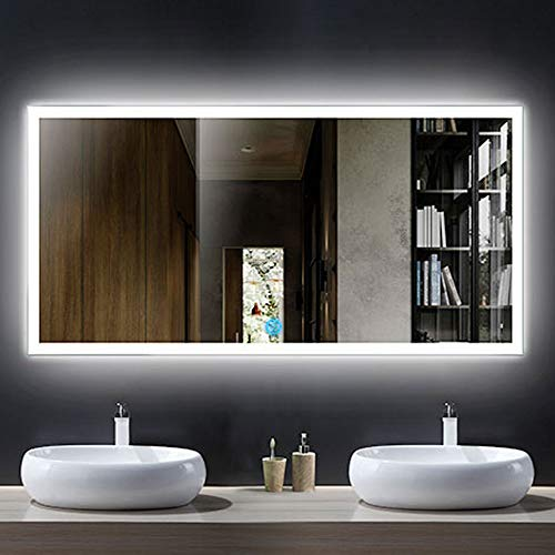 DECORAPORT Horizontal LED Bathroom Mirror, Lighted Vanity Wall Mounted Mirror with Touch Button-55...