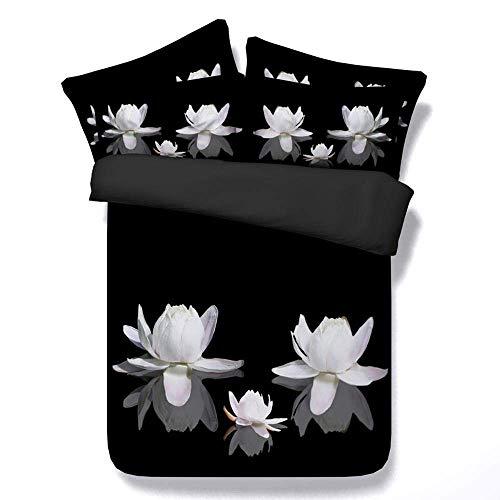 218 ZHENJIL Duvet Cover Sets 3D Black Snow Lotus Painting 3 Piece Set Bedding 100% Microfiber For Gifts (1 Duvet Cover + 2 Pillowcases) Twin(172x218cm)
