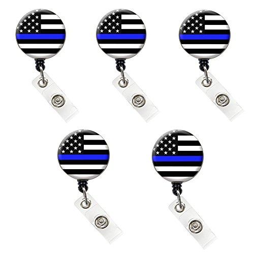 Thin Blue Line Nurse Badge Reel Retractable ID Badge Holder (Thin Blue Line Flag Badge 5 Pack (Value Pack)