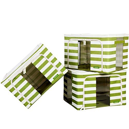 SXDHOCDZ Caja de almacenamiento a rayas verde plegable y ahorra espacio, adecuada para ropa de cama, colchas, ropa, ropa