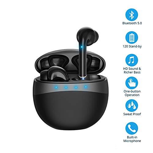 Auriculares estéreo inalámbricos Bluetooth 5.0 con Sonido estéreo y Caja de Carga, Control táctil con micrófono Incorporado para iPhone y Android