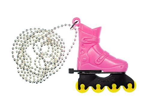 Miniblings Rollerskates Rollschuhe Inlineskates Kette Halskette Skates 80cm pink - Handmade Modeschmuck - Kugelkette versilbert