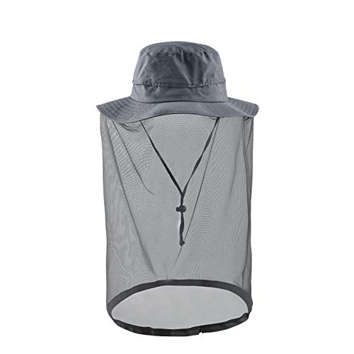 Net hat Safari Hat Head net Outdoor Sun Protection Hats Gray