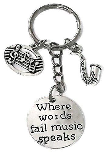 Saxophone Keychain, Music Keychain, Music Note Keychain, Musical Instrument Keychain, Music Teacher Gift, Music Lover Gift, Music Key Ring, Saxophone Charm Key Ring