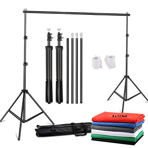 YUGAM Photography Backdrop Stand Kit Background Support Kit Foldable with Bag and lekera Curtain Cloth (with Stand KIT, White)