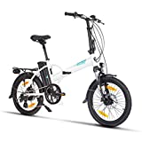 Fitifito Bicicleta eléctrica New York FD20 Plus Pulgadas Bicicleta Plegable E-Bike, 36v 250w Motor, 15.6AH 561Wh LON de Litio,8 Speed Shimano Gears,Color Blanco