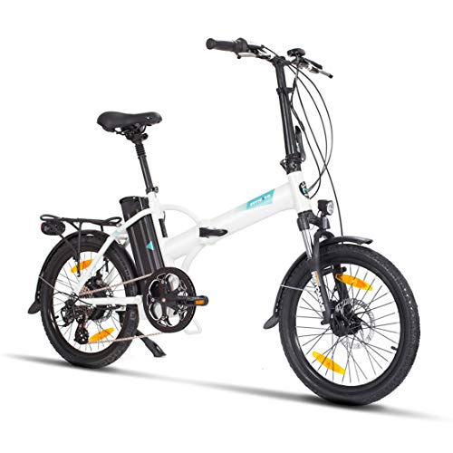 Fitifito FD20 Plus Elektrofahrrad Faltrad Klapprad E-Bike Pedelec, 36V 250W Heckmotor, 36V 15.6Ah 561W Samsung Cells Lithium-Ionen USB, 6061 Aluminium Rahmen (Weiss)