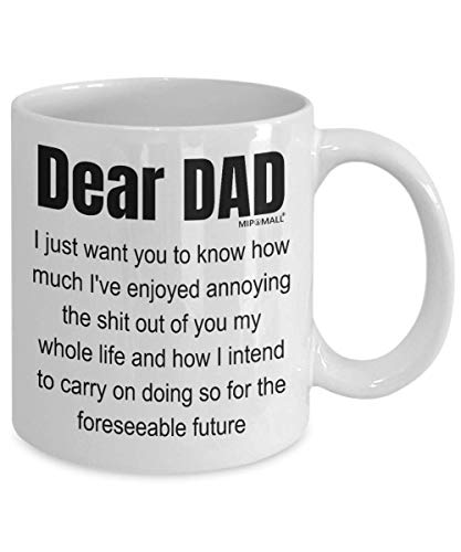 Fathers Day Gifts from Daughter Son, Dear Dad, Birthday Funny Coffee Mug Tea Cup, Christmas Present - wm3293