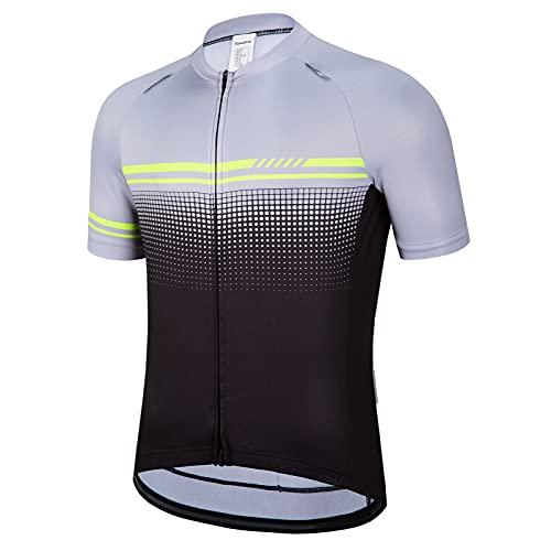 Men's Cycling Jersey Short Sleeve Bike Shirts Tops Biking Clothing Full Zipper Bicycle Shirt with Pockets Grey Green