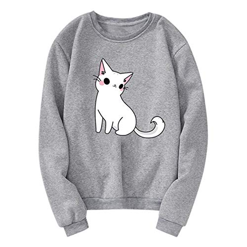 WYZTLNMA 2020 Sweatshirt Unisex Men Women Casual Long Sleeve O-Neck Cat Printed Sweatshirt Women Sweatshirt Streetshirt