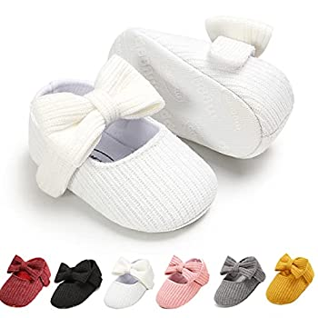 Ohwawadi Infant Baby Girl Shoes Baby Girl Christening Baptism Shoes Bowknot Baby Mary Jane Flats Princess Dress Shoes  0-6 Months 1933 White