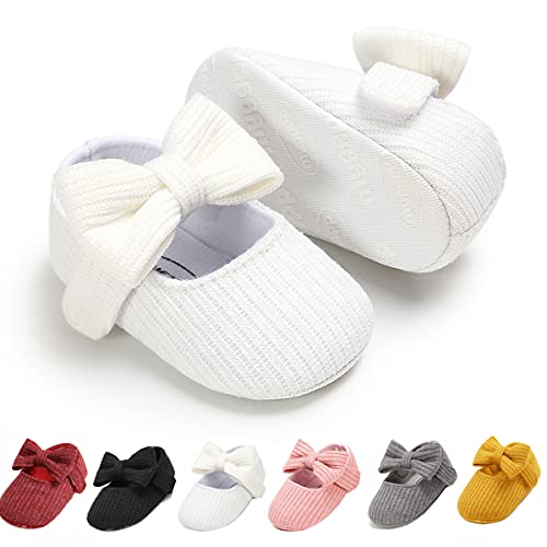 Ohwawadi Infant Baby Girl Shoes, Baby Girl Christening Baptism Shoes, Bowknot Baby Mary Jane Flats Princess Dress Shoes(6-12 Months, 1933 White)