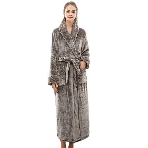 Susenstone Peignoir Femme Long Hiver Chaud Doux Satin Polaire Grand Taille Robe De Chambre Bain...