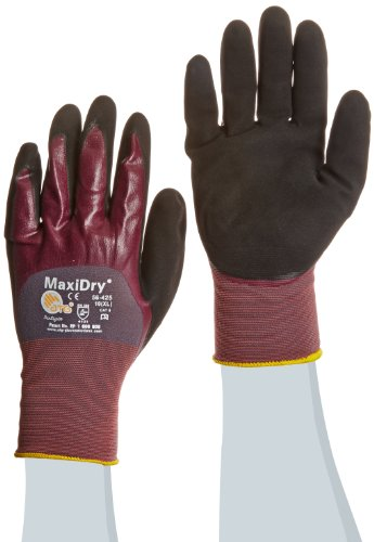 ATG 56-425/XL MaxiDry Ultra Lightweight Nitrile Gloves with 3/4 Dipped Coating, Purple/Black, X-Large, 1-Dozen