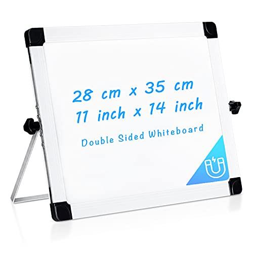 Pequeña pizarra blanca de borrado en seco para escritorio de 35 x 28 cm, ARCOBIS, magnética, portátil se puedes dibujar por las dos caras. Con caballete para soporte en escritorio ideal para niños