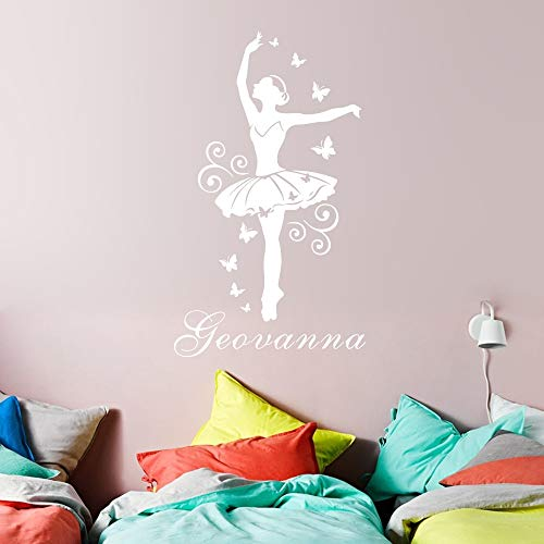 PMSMT Pegatina de Pared con Nombre Personalizado para niñas, póster de Vinilo artístico de Bailarina, Papel Tapiz de Mariposa de Bailarina de Ballet para decoración de habitación de niñas