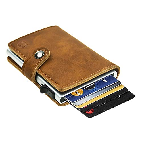 Dlife Credit Card Holder RFID Blocking Wallet Slim Wallet PU Leather Vintage Aluminum Business Card Holder Automatic Side Slide Trigger Card Case Wallet Security Travel Wallet (Light Brown)