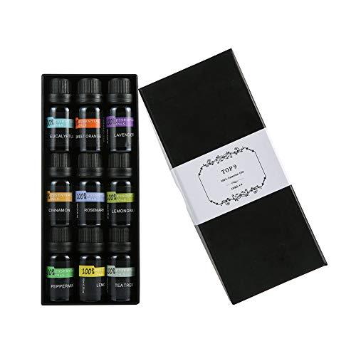ZLAHY Aroma Conjunto Aceite Esencial Contiene 9 más Popular aceites de aromaterapia Naranja, Lavanda, árbol de té, Menta, eucalipto, citronela, Canela, Romero