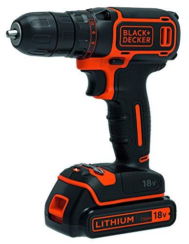BLACK+DECKER BDCDC18-QW - Taladro atornillador 18V, incluye 1 bateria litio 1.5Ah