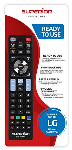 Superior Electronics SUPTRB007 - Mando a Distancia de Repuesto Universal Compatible con Todos los televisores y Smart TV de la Marca LG, Listo para Usar, no Requiere programación, Negro