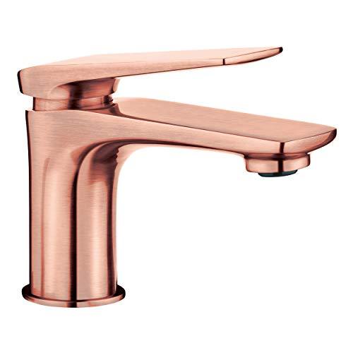 baliv WT-5082 Waschtischarmatur in Kupferoptik | Wasserhahn mit Ablaufgarnitur und allem, was man für den Einbau braucht